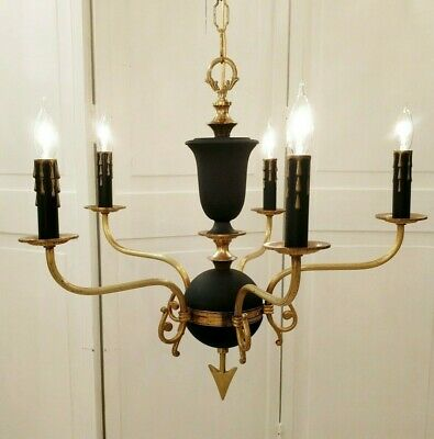 Vintage Brass French Empire Chandelier Black Gold Ceiling Lamp Rewired 6 Light