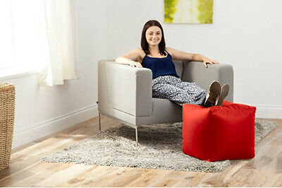 Red Faux Leather Cube Bean Bag Pouffe Foot Stool Beanbag Footstool Square Seat