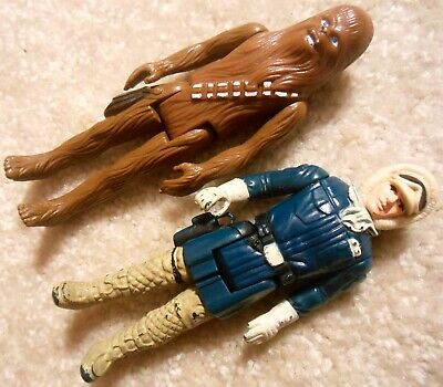 Vintage 1980s Star Wars - HAN SOLO HOTH OUTFIT & CHEWBACCA - Lot 2x Figures
