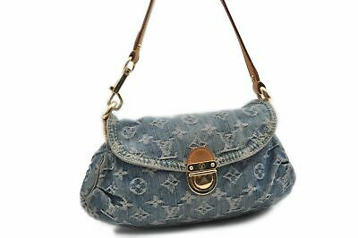 193ece6b6c148 Auth Louis Vuitton Monogram Denim Mini Pleaty Shoulder Bag Blue M95050 LV  76033