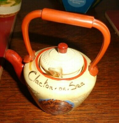 pottery clacton on sea mustard pot with spoon and liner
