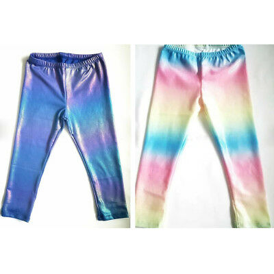 Kids Baby Girls Rainbow Slim Fit Pants Skinny Leggings Jeggings Mermaid Trousers