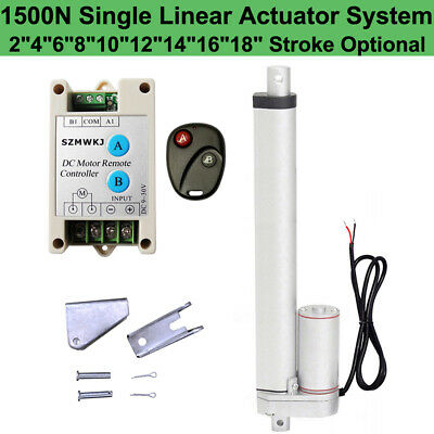 """1500N Linear Actuator 2""""-18"""" Electric Motor + Remote Controller 12V DC Auto Lift"""