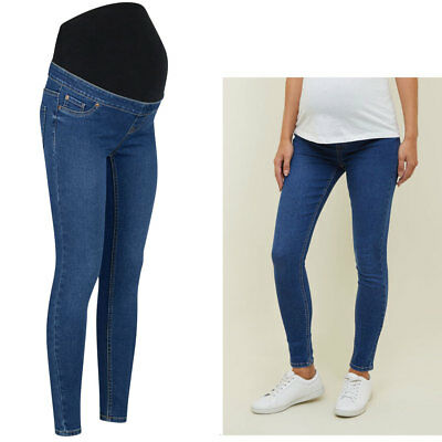 b057424447187 NEW LOOK Maternity Over Bump Skinny Jeggings, Blue Pregnancy Jeans Size 10