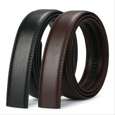 Mens Genuine Leather Ratchet Belt Waistband Strap For Automatic Buckle 110-140cm