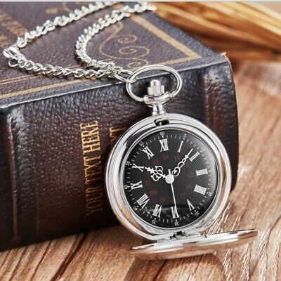 Classical Hollow Carved Silver Round Watch Vintage Pattern Quartz Pocket Watch