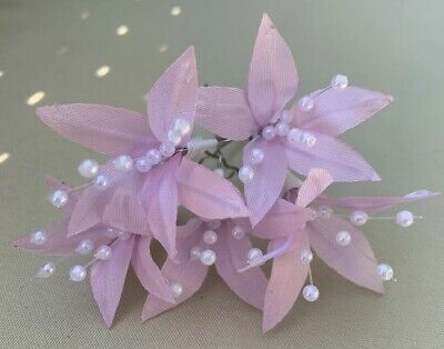 5 Wedding Prom Silver  Lily Flower Hair Pins Grips handmade