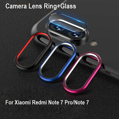For Xiaomi RedMi Note 7 Metal Rear Lens Protective Ring+Tempered Glass Camera BY