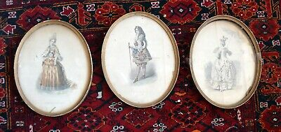 3 x French Oval Engravings Court  Dress Louis XV  from Musée Cosmopolite'