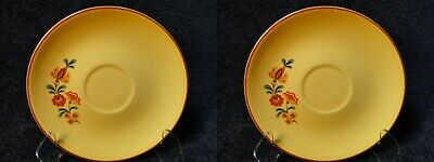 Taylor Smith Taylor Reveille Rooster Saucers Yellow with Red Trim Set of 2 Nice