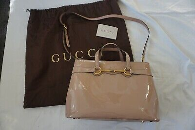 1232905390c4 Authentic GUCCI 319795 Bright Bit Horsebit patent leather tote shoulder  handbag