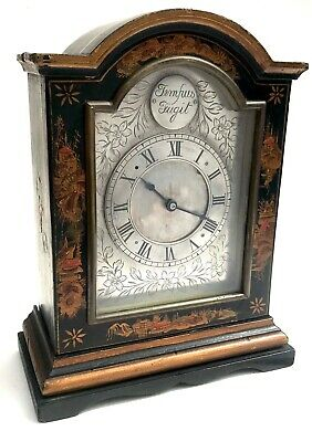 Chinoiserie Bracket Mantel Clock Hand Painted Black And Gold With Engraved Dial