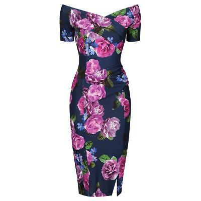 741ac8b46f15 PRETTY KITTY Navy Purple Floral Print Cap Sleeve Bodycon Wiggle Pencil Dress