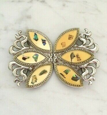 Vintage Belt Buckle, Shell Confetti, Abstract Ornate Silver
