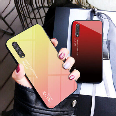 For Samsung Galaxy A70 A50 A40 A20 Gradient Tempered Glass Hard Back Case Cover