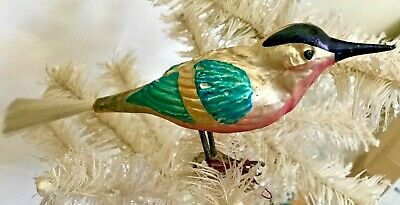 Antique Vintage LARGE Blue Jay Clip On Bird German Glass Christmas Ornament