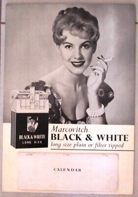"Calendrier Publicitaire Cigarettes "" Black And White"" 1962"
