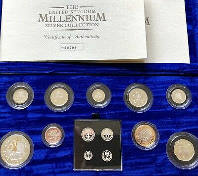 2000 Millennium Royal Mint UK Silver Proof Coin Collection Set Boxed with COA