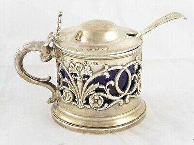 Wonderful Large Antique Victorian Solid Sterling Silver Mustard Pot 1845