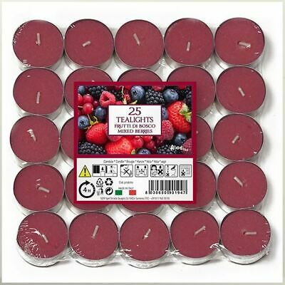 25 Tea Lights Candles 4 Hour Long Burn Night BERRIES Tealight Party Scent Fruit