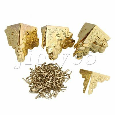50Pcs Corner Protector Golden Iron with Nails to Protect Table/Box/Wood Cases
