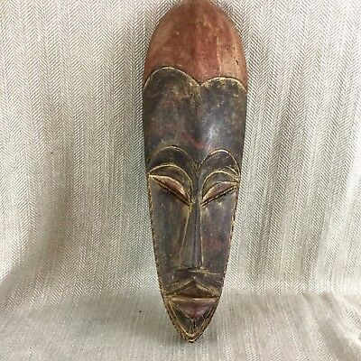 African Carved Wooden Mask Large Wall Hanging Tribal Ethnic Folk Art