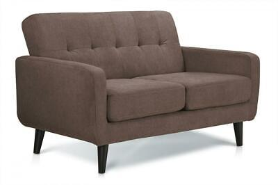 Brown Fabric Sofa 2 Seater Compact Small . Free Next Day Delivery. Wooden legs.