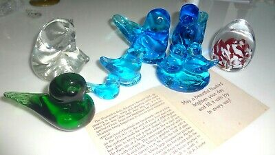ANTIQUE VINTAGE OLD-'96 PAPERWEIGHT 8p LOT BEAR BLUEBIRDS EGG 6 SIGNED DATED FAB