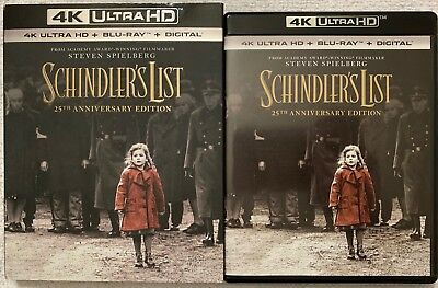 Schindlers List 4K Ultra Hd Blu Ray 3 Disc Set + Slipcover Sleeve Free Shipping