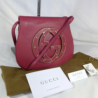 98d8be2d999 Authentic Rare Gucci Soho Pink Leather Small Messenger Shoulder Bag Purse  VGC