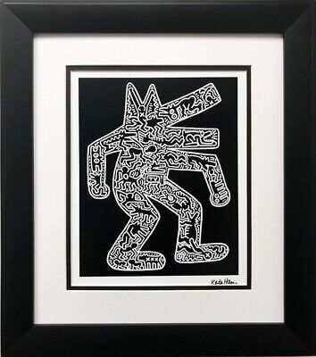 "Keith Haring ""Dog"" CUSTOM FRAMED Art plate Signed Offset Lithograph canine Pop"