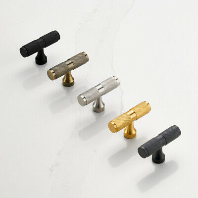 Brass Gold & Black Knurled T Bar Cupboard Drawer Cabinet Pull Knobs Handles