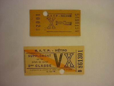 "Ticket De Metro ""X"" 1960 Et Supplement ""V/X""."