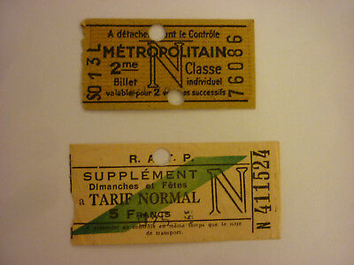 "TICKET DE METRO ""N"" 1948 et SUPPLEMENT DIMANCHES ET FETES."