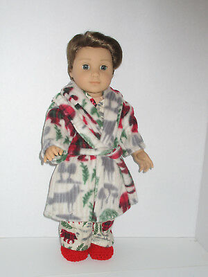 """Vintage Cat Pajama// Robe//Slippers Set 18/"""" Doll Clothes American Girl"""
