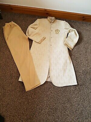 Gold/beige Mens Sherwani Wedding Suit Kurta Pakistani Indian Formal size small