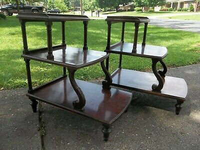 Pair of Rare Vintage Mersman Carved Mahogany Wood 3 Tier Side End Tables #7236