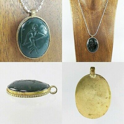 Rare Green Jade Intaglio Very Old Beautiful Indo-Greek Pendant #A98