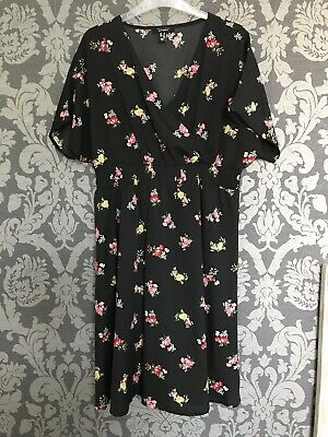 New Look Maternity Dress Short Sleeves Black Floral Print Size 14