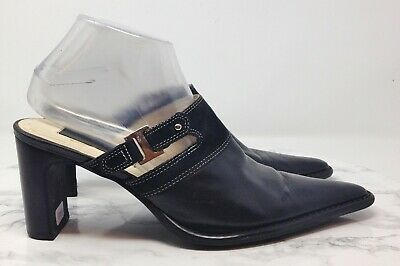 David Aaron WHISPA Black Leather Cut Out Pointed Toe Mule Heels Size 8.5