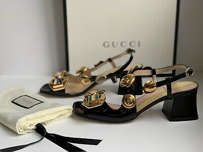 86013d1bc Authentic Gucci Mid-heel sandal with Interlocking G buckles. Size