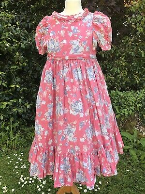 Vintage Laura Ashley Dress Pink Made In England Age 7-8 1980s