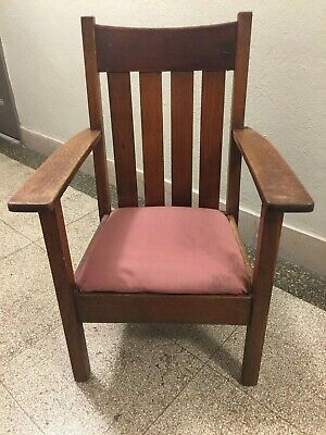 Antique Mission Armchair - Stickley Era (quarter sawn oak)