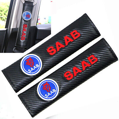 x2 SAAB Logo Embroidered Seat Belt Carbon Covers Pads For SAAB 93 95 900 9-3 9-5
