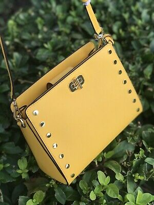 c8dd4928f4cd77 Nwt Michael Kors Sylvie Stud Md Messenger Sunflower Leather Crossbody Bag