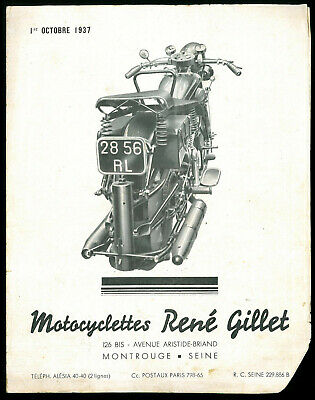 Brochure Motos RENE GILLET 1937 - 350 / 500 / 750 / 1000 cm3 Catalogue Dépliant