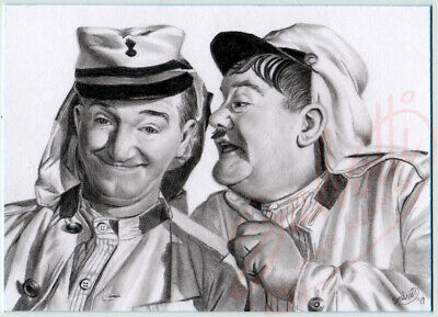 ACEO Original hand drawn Sketch Card LAUREL AND HARDY in The Flying Deuces