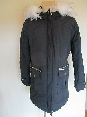 New Look Maternity Navy Blue Quilted Waterproof Parka Coat Mac Jacket Size 12