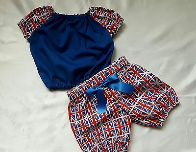 Union Jack crop top and bloomer set girls baby's summer sping clothes handmade