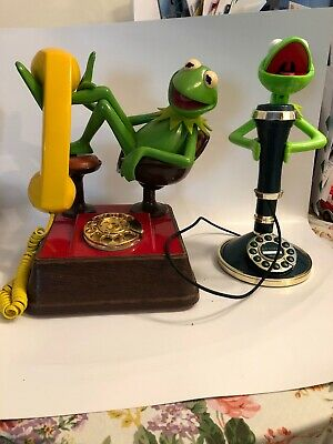 Kermit the Frog Phone Rotary Dial Set Of 2 1980s Vintage Untested